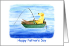 Gone Fishing Happy Father's Day Dad Yellow Lab in Boat card