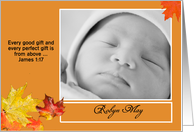 Autumn Leaves Customizable Birth Announcement card