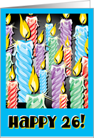 Sparkly candles -26th Birthday card
