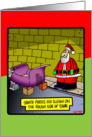 Santa parks his sled on the rough side of town card