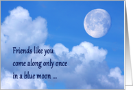 Happy Friendship Day blue moon over clouds card