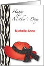 Custom Name Mother's Day, red hat card