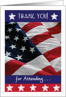Thank You, attending Military Retirement Party, USA Flag card