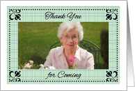 Photo Thank You, attending Party, light green plaid card