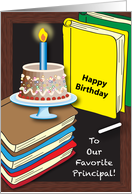 Birthday to School Principal, books, cake card