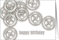 Steampunk Birthday, metal gears card