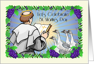 St. Martin's Day, monk, geese, grapes card