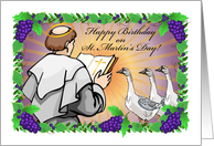 Birthday on St. Martin's Day, monk, geese, grapes card