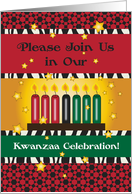 Invitation to Kwanzaa Party, candles card