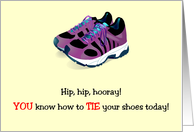 Congrats, Tying Shoes, sneakers card