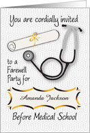 Custom Name Farewell Party, Medical School, stethoscope card
