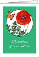 In Remembrance, WWI, red poppy card