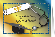 Congratulations Nurse Graduation, diploma, stethoscope card