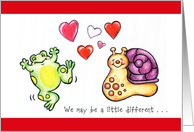 Holidays / St. Dwynwen's Day, Jan. 25, happy frog and snail card