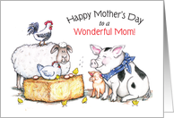 Mother's Day, Happy Farm Animals card
