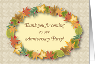 Thank you, For Attending Anniversary Party card