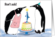 Penguin Birthday for Husband card