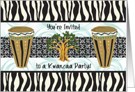 Invitation to Kwanzaa Party, drums, tree card