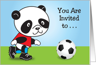 Soccer Theme Birthday Party Invitation, panda card