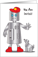 Robot Theme Birthday Party Invitation card