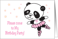 Ballerina Theme Birthday Party Invitation card