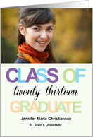 Graduation Announcement Colorful Text College Photo Card