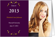 Graduation Announcement Burgandy Background College Photo Card