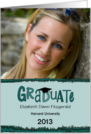 Cute Aqua Text College Graduation Announcement card