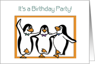Birthday Invitation, Penguins Dancing, Teens card