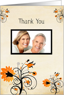Wedding Gift Thank You, Orange Flowers Photo Card
