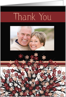 Wedding Gift Thank You, Chic Flowers Photo Card