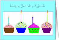 Birthday, Qudadruplets, Cupcakes card