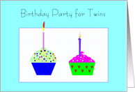 Birthday Party Invitation, Twins, Cupcakes card
