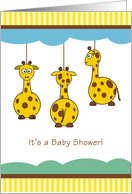 Double Baby Shower with Baby Giraffe Mobile card