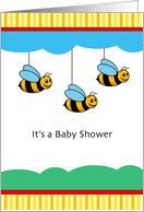 Cute Honey Bees for Double Baby Shower Invitation card