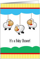 Cute Lambs Double Baby Shower Invitation card