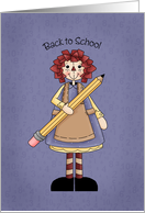 Back to School, rag doll with pencil card