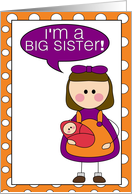 i'm a big sister - baby girl announcement card