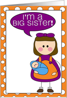 i'm a big sister - baby boy announcement card