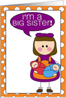i'm a big sister - baby twins boy/girl announcement card