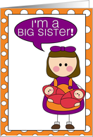 i'm a big sister - baby girl twins announcement card