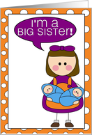 i'm a big sister - baby boy twins announcement card