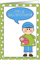 i'm a big brother - baby girl announcement card