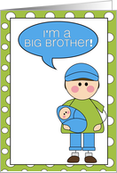 i'm a big brother - baby boy announcement card