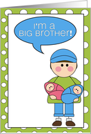 i'm a big brother - baby boy/girl twins announcement card