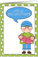 i'm a big brother - baby girl twins announcement card