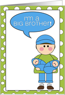i'm a big brother - baby boy twins announcement card