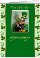 ST. Patrick's Day, kitty with hat, card