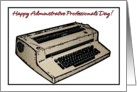 Happy Administrative Professionals Day Typewriter Illustration card