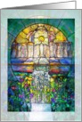 Easter Stained Glass Christ and Angels card